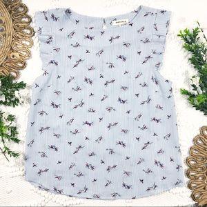 Monteau Blue & White Stripe Bird Print Top